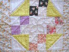 19c Yellow Calico Feedsack Patchwork Antique Quilt Handmade Hand Pieces Quilted | eBay
