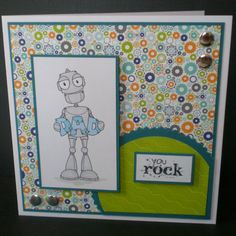 Dad birthday card robot contemporary design lime by jujucards, £2.00