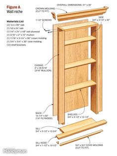 **in-wall cabinet** wall niche** save space by mounting a simple cabinet inside a wall between wall studs. you can build and finish it in . Basement Storage, Bathroom Storage, Bathroom Cabinets, Bathroom Closet, Kitchen Cabinets, Oak Plywood, Build A Wall, Cubbies, Home Organization
