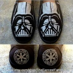 Handpainted Darth Vader TOMS Shoes by TheFiercestFandom on Etsy