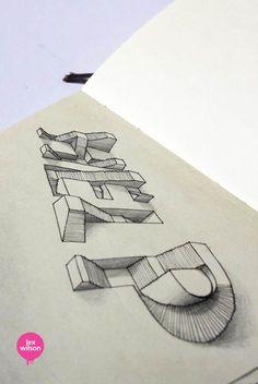 """""""3D Typography"""", une jolie série delettrages 3D du graphic designer anglais Lex Wilson, basé à Londres et passionné de typographie, qui s'amuse ici avec l"""