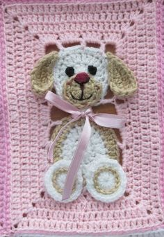 Baby Girl Crochet, Crochet Bunny, Cute Crochet, Baby Blanket Crochet, Crochet Crafts, Crochet Projects, Afghan Crochet Patterns, Crochet Squares, Crochet Motif