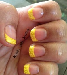 Yellow French Manicure Polka Dot