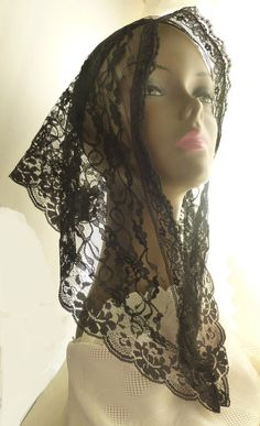 Lace Mantilla Catholic Head Covering Black by cupidscloset on Etsy