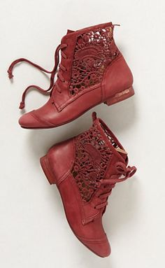 Cranberry booties - love the open detail.