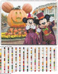 http://ponciar.blogspot.it/2016/10/happy-halloween-minnie-mickey-mouse-and.html minnie & Mickey mouse halloween cross stitch