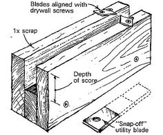 """Drywall edge trimmer - If you have to trim about an inch off the ends of our drywall, this is a tedious work with a utility knife. So I screwed together some pieces of 1x scrap to make a cutting guide and attached a couple of """"snap-off utility knife blades to its top edge (see drawing). When I slide this tool along the edge of a piece of drywall, the blades cut from both sides, making it quick and easy to remove uniform strips from a sheet of drywall."""