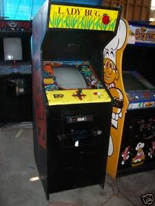 LADY BUG ARCADE GAME HAS NO MONITOR OR GAME INSIDE SIDE NO COMPUTER EMPTY BOX WOOD HAS CONTROLLERS