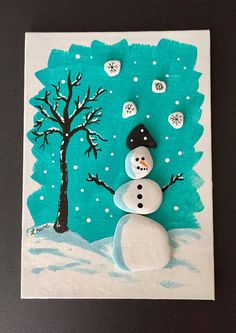 Snowman Christmas Painting, Christmas Pebbles Snowman, Christmas 5 x 7 Painting, Painted Rocks Snowman, Mixed Media Collage, Teacher Gift by AlleluiaRocks on Etsy