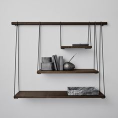 """Bridge"" shelf system designed by Outofstock for Bolia in smoked oak. It will surely decorate your room. There is a nice symmetry because of the three shelves that are in the right proportions. Decor, Furniture, Shelves, Interior Furniture, Danish Design Store, Cabinet Furniture, Bookcase Diy, Home Deco, Furniture Design"
