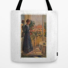 """At the window Tote Bag by gunadesign - $22.00 Our quality crafted Tote Bags are hand sewn in America using durable, yet lightweight, poly poplin fabric. All seams and stress points are double stitched for durability. They are washable, feature original artwork on both sides and a sturdy 1"""" wide cotton webbing strap for comfortably carrying over your shoulder."""