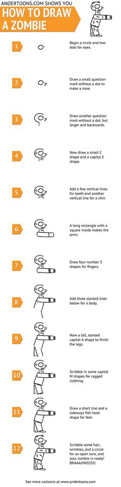 How to draw a zombie in 12 steps. From http://mashable.com/2012/10/09/how-to-draw-a-zombie/