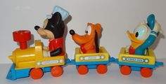 Engineer Mickey Mouse Train 1980's Pluto Donald Duck Wind-Up Toy - Not Working #TheWaltDisneyCompany