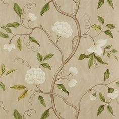 So pretty - Colefax and Fowler wallpaper - Snow Tree. White flower, slender branches and delicate leaves.