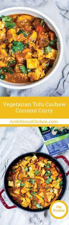 Tofu, cauliflower, sweet potatoes, bell pepper, garlic, turmeric, and ginger simmered in vegetarian coconut milk based curry dish in partnership with Nasoya Tofu. Vegan & gluten-free!