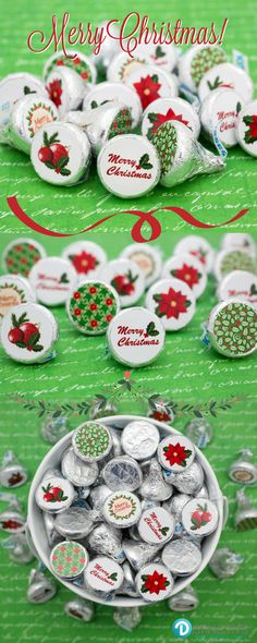 simply peel and stick these red and green merry christmas stickers to a hershey kiss and