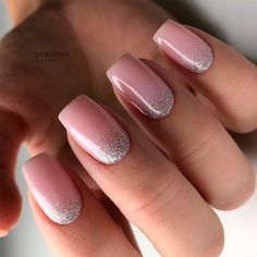 Silver Glitter Ombre Accents ❤ Intricate Short Acrylic Nails To Express Yourself ❤ See more - Carpets Mag Light Pink Acrylic Nails, Square Acrylic Nails, Cute Acrylic Nails, Square Nails, Glitter Nails, Cute Nails, Silver Glitter, Light Nails, Glitter Wedding Nails