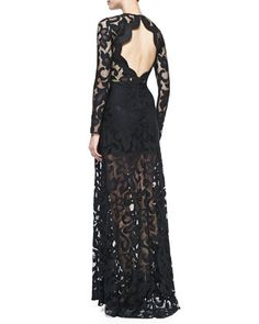 Alexis Maribor Lace Open-Back Gown