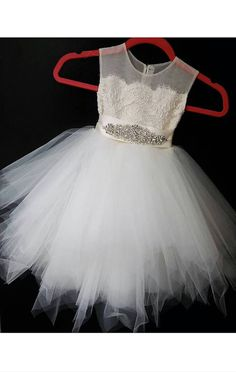 Stunning happy rose 'Belle' flower girl dress, ivory lace, tea length pouffy tulle skirt, an ivory sheer netting with pearl/ rhinestone sash