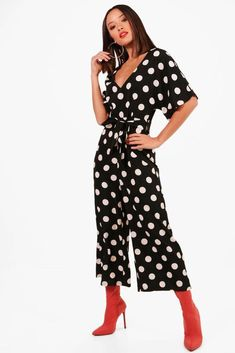 d6cd74812998 Boohoo Womens Polka Dot Capped Sleeve Culotte Jumpsuit  fashion  clothing   shoes  accessories