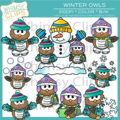 Winter owl clip art for worksheets and more. This winter owl clip art set contains 18 image files, which includes 9 color images and 9 black and white images in png and jpg. All images are 300dpi for better scaling and printing. $