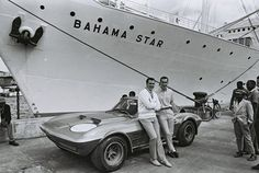 Corvette Grand Sport in the Bahama's for the 1963 Nassau Speed Week.  That's  John Mecom on the left and Roger Penske in th shortsleeve shirt.