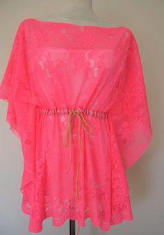 Neon pink fuchsia-kaftan-caftan-swimsuit cover up-coverup-sheer-lace-mini beach dress summer tunic. $44.00, via Etsy.
