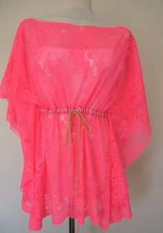 Neon pink fuchsia-kaftan-caftan-swimsuit cover up-coverup-sheer-lace-mini beach dress summer tunic. $44.00, via Etsy.