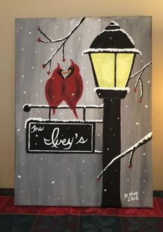 houses for cardinals yards 43 ideas houseBird houses for cardinals yards 43 ideas house Social Artworking Canvas Painting Design - Cardinal Lamppost Painting bird houses ideas christmas New Ideas Carte de vœux « Peinture de l'oiseau du cardinal nordique Best Canvas, Diy Canvas, Canvas Ideas, Christmas Paintings On Canvas, Paint And Sip, Paint Party, Learn To Paint, Christmas Art, Christmas Cookies