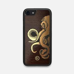 This premium Wood iPhone 7/8 case features a Gold Octopus inlay on a Wenge backing. Our cases are handcrafted in Toronto, Canada.