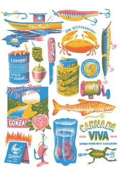I am a graphic artist and illustrator home based in Buenos Aires, Argentina. I have been a graphic design professor at Buenos Aires University for 8 years. Floral Illustration, Arte Sketchbook, Graphic Design Posters, Art Design, Cover Design, Grafik Design, Food Illustrations, Screen Printing, Art Drawings
