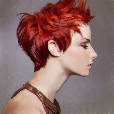 Kai Fine Art is an art website, shows painting and illustration works all over the world. Short Red Hair, Short Hair Styles, Kuvshinov Ilya, Girls With Red Hair, Found Art, Hair Reference, Illustration Girl, Fantasy Girl, Face Art
