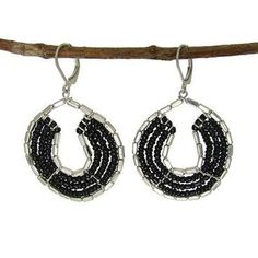 Byzantine Earrings in Black and Silvertone Handmade and Fair Trade Unique Earrings, Drop Earrings, Unique Jewelry, Handmade Beaded Jewelry, Earrings Handmade, Fair Trade Jewelry, Bead Shop, Byzantine, Artisan Jewelry