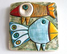 Ceramic art tile, home decor, handmade tile, wall art, two birds Handmade ceramic tiles – two birds size: sm size: / inches *** All packages are s Ceramic Wall Art, Ceramic Birds, Ceramic Animals, Ceramic Clay, Tile Art, Ceramic Decor, Handmade Tiles, Handmade Ceramic, Tuile