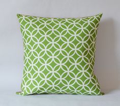 Graphic green circle print,Pillow cover--decorative pillow--throw pillow--18x18 inches $25