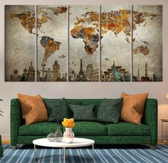 Canvas Art Print Wonders Of The World On Retro World Map, Large Wall Art  World