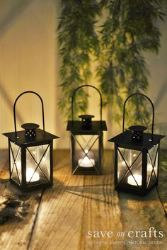 Whether you're searching for lanterns for wedding centerpieces, hanging lanterns for a glowing wedding ambiance, or lanterns for the aisle of your wedding ceremony, Save On Crafts offers an assortment of affordable lanterns and decorative lights for indoor and outdoor use. Find candle lanterns, decorative metal lanterns, and path lighting.
