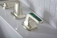 Per Se Widespread Basin Faucet Set, Malachite Lever Handle in Sterling SilverPer Se Decorative lever inserts are now available in Malachite, a semiprecious stone known for intense green color and banded patterns Learn More
