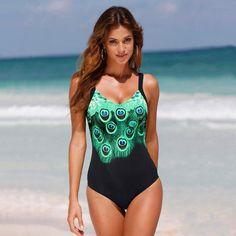 b4de1d62b2368 Details about Peacock Women One-Piece Swimsuit Beachwear Swimwear  Bathingsuit Plus Size