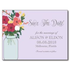 Mason Jar Wedding Invitation – Pastel Ube/Lilac Postcards