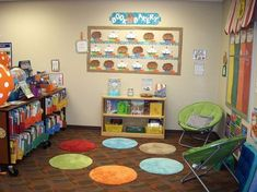 Class library = Bath mats OR LILY PADS for our Pre-K Classroom! When all are occupied no more kids can sit there. Classroom Layout, Classroom Organisation, Classroom Setting, Classroom Design, Preschool Classroom, School Organization, Future Classroom, In Kindergarten, Classroom Decor