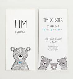 Kikker & Prins - Geboortekaartje Tim #geboortekaartje #jongen #kaartjes #kaartje #geboortekaartjes #geboorte #baby #geboren #ontwerp #illustratie #beer #beertjes #babyopkomst #birth #announcement #birthannouncement #birthannouncements #illustration #meisje #babyboy #babygirl