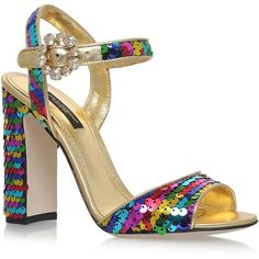 Dolce & Gabbana Malmaison Sequin Sandals 105 (£595) ❤ liked on Polyvore featuring shoes, sandals, block heel sandals, sparkly sandals, dolce gabbana shoes, formal shoes and rainbow sandals
