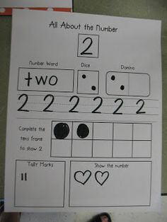 Mrs. Morrow's Kindergarten: Kindergarten Fun...Interesting idea...I don't like the domino, though...it should be reversed (with no dots on the first part and two on the second) to help introduce the idea of place value without actually introducing the idea of place value.