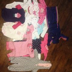 16 piece baby girl 3 months cloths 16 piece long sleeve onesies 3 months baby girl 2 pieces are a adidas jogging suit Other
