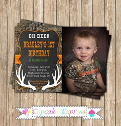 Camo Boy Hunting deer Photo Invitation 6 by CupcakeExpress on Etsy realtree camo invitation #camo Birthday party