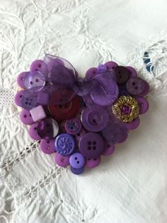 Pretty little Button Heart with an Organza Bow