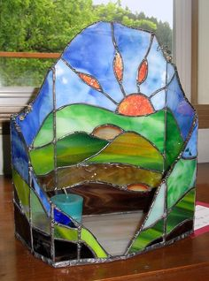 Stained Glass Candle Hearth by Jannie Ledard Glass Art