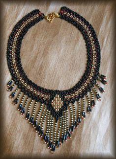 Collar negro collar flecos collar Collar collar de perlas