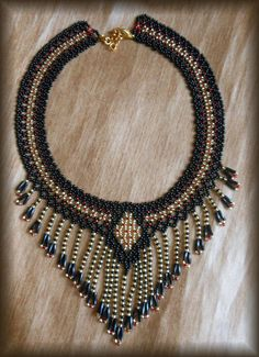 Beaded Necklace Black necklace Fringe by BeadedJewelryVirunia
